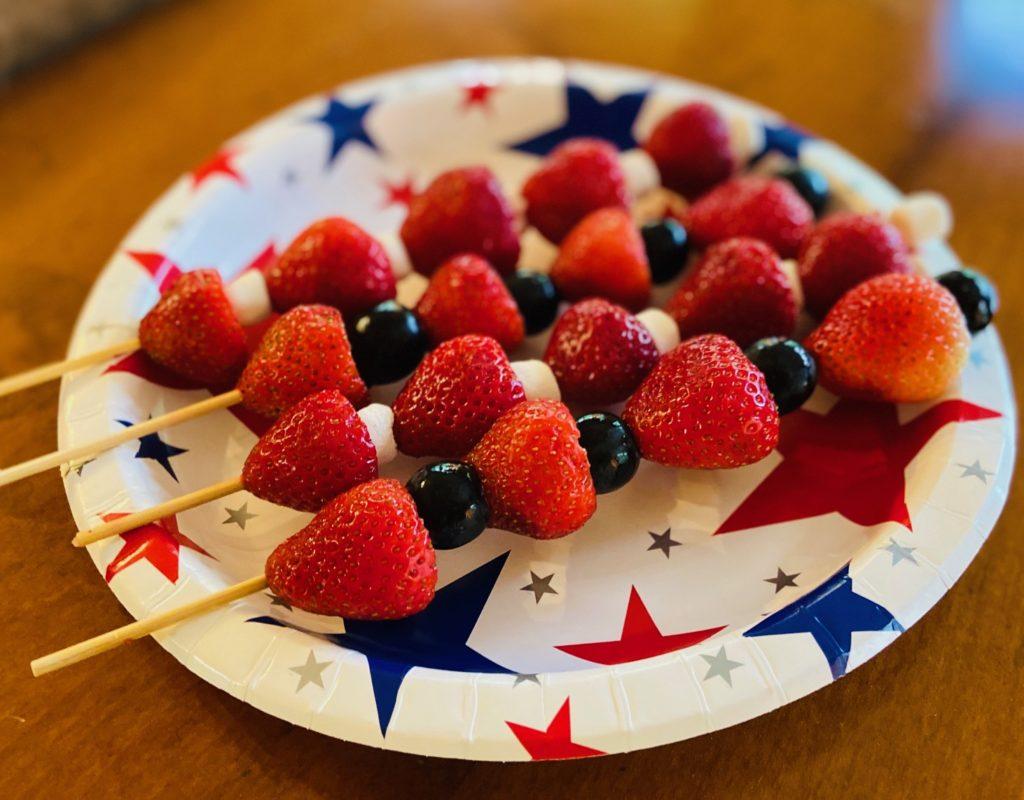 Fourth of July celebration fruit kebobs